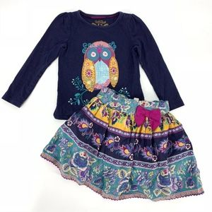 Monsoon Owl Shirt & Skirt Set